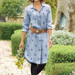 Soft Surroundings Paisley Park Denim Dress NWT M